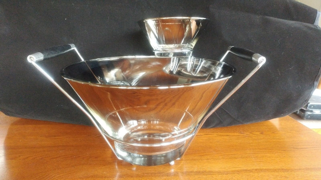 Mid Century Chip & Dip Serving Bowl Silver Rim 11