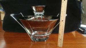 "Mid Century Chip & Dip Serving Bowl Silver Rim 11"" and 5"""
