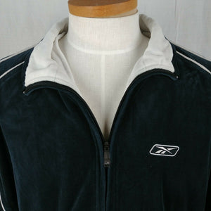 Reebok Black & White Full Zip Sports Jacket Athletic Wear Sweatshirt Mens Sz XL
