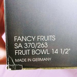 "Collectible Studio Nova Fancy Fruits Fruit Bowl 14 1/2"" Made in Germany"