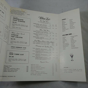Black Angus Vintage Menu 1960's Torreador Room Springfield Illinois