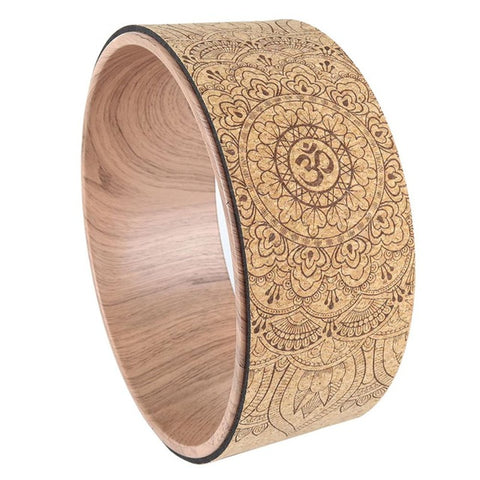 Mandala Pattern Yoga Wheel Natural Cork Yoga Auxiliary Wheel Massage Wheel Back Bend Artifact Pilates Yoga Circle