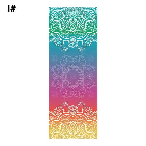 Antibacterial double-sided non-slip sweat-absorbent yoga mat towel printing cloth towel fitness blanket practice Pilates blanket