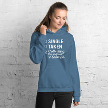 Load image into Gallery viewer, Single, Taken, Collecting Passport Stamps Unisex Hoodie