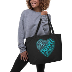 The Limited Edition Love, Travel, Passport Large organic tote bag