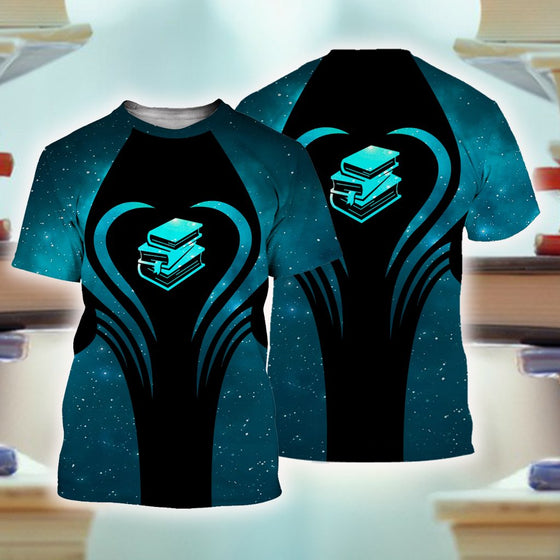 Books Beauty Blue 3D Shirt