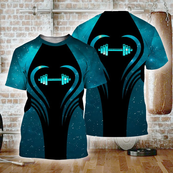 Gym Beauty Blue 3D Shirt