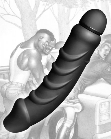 Tom Of Finland Silicone 9.5 Inch Vibrating Dildo with art images in the background