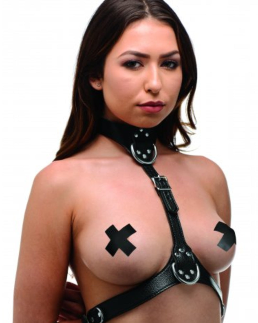 Female Leather Chest Harness - Black Side View Worn by Model