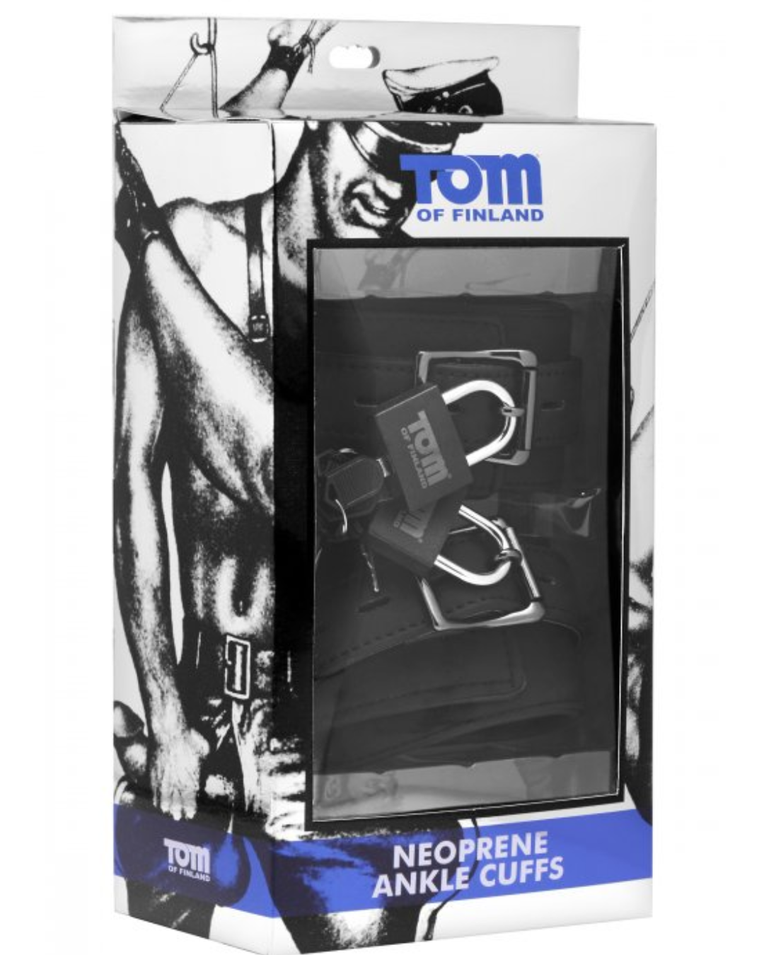 Tom of Finland Neoprene Ankle Cuffs with Locks package