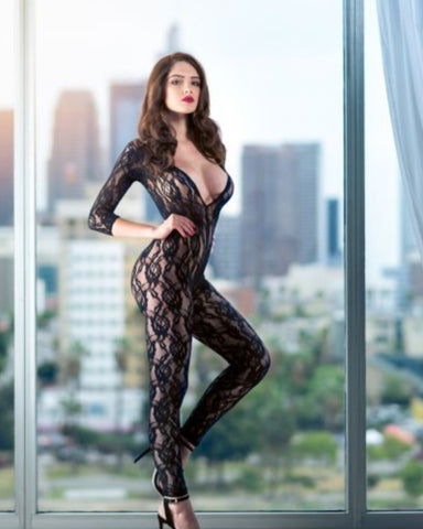Scandal Black Crotchless Lace Body Suit - One size fits most