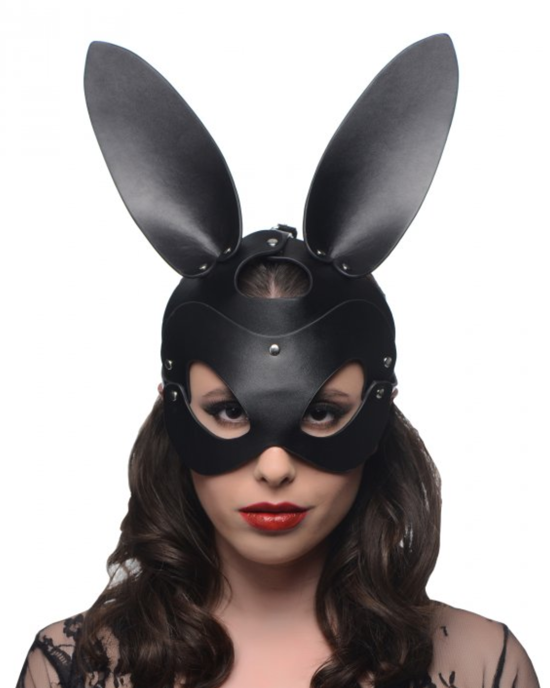 Bad Bunny Vegan Leather Bunny Mask worn by a model