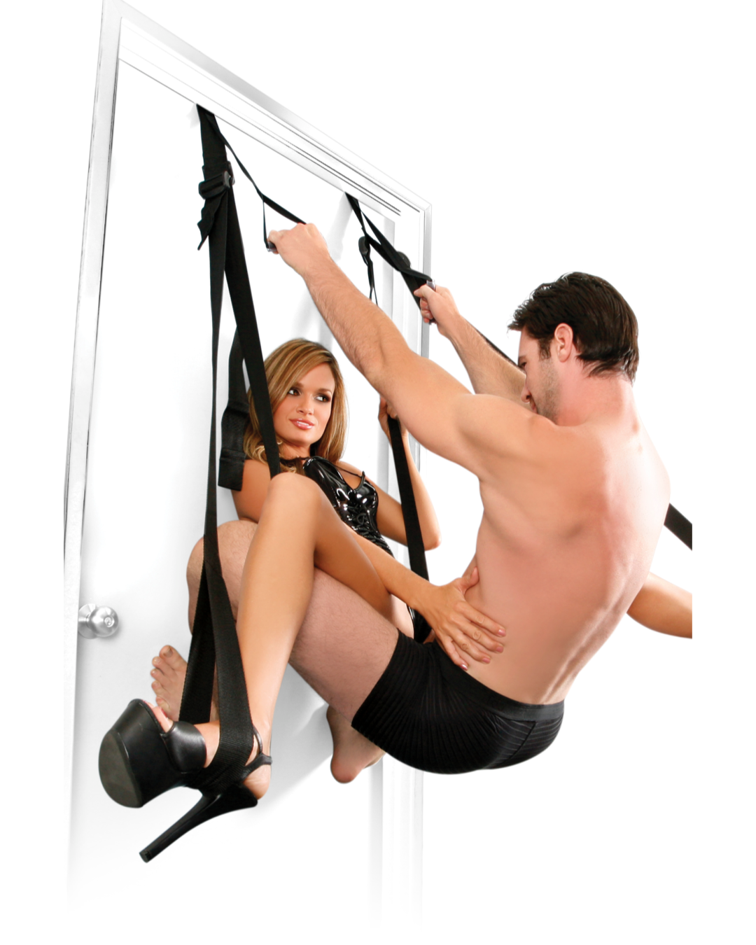 Fetish Fantasy Deluxe Fantasy Door Swing Black couple both suspended by the swing