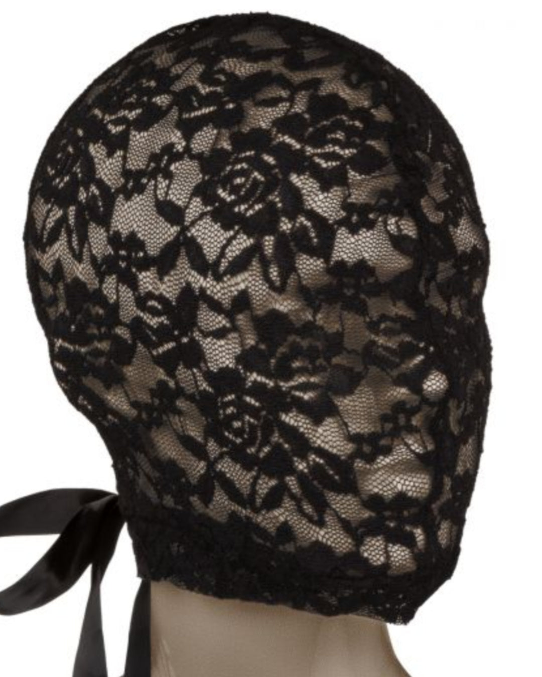 Scandal Corset Lace Hood - Black front view on mannequin