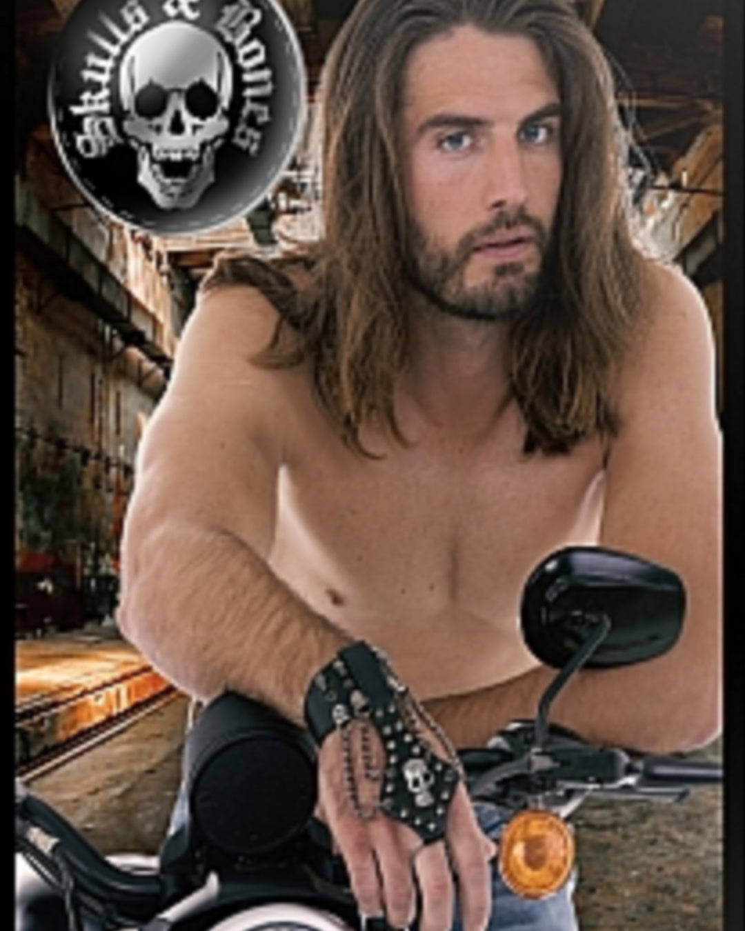 Man on motorcycle wearing Ouch! Skulls & Bones Handcuffs With Skulls and Chains Black