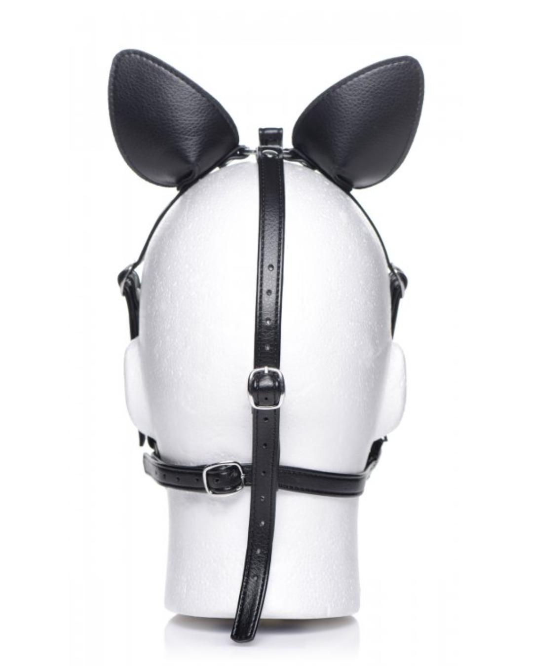 Dark Horse Pony Head Harness With Silicone Bit - Black on a mannequin, back view