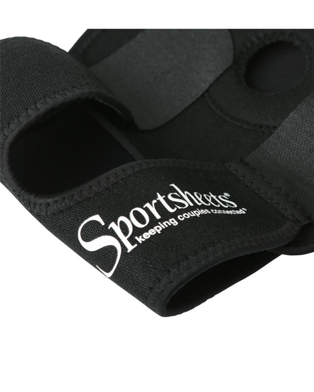 Strap On Thigh Harness by Sportsheets -  Black close up of velcro closures