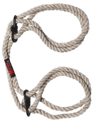 Kink Hogtied Bind & Tie 6mm Hemp Wrist Or Ankle Cuffs - Natural
