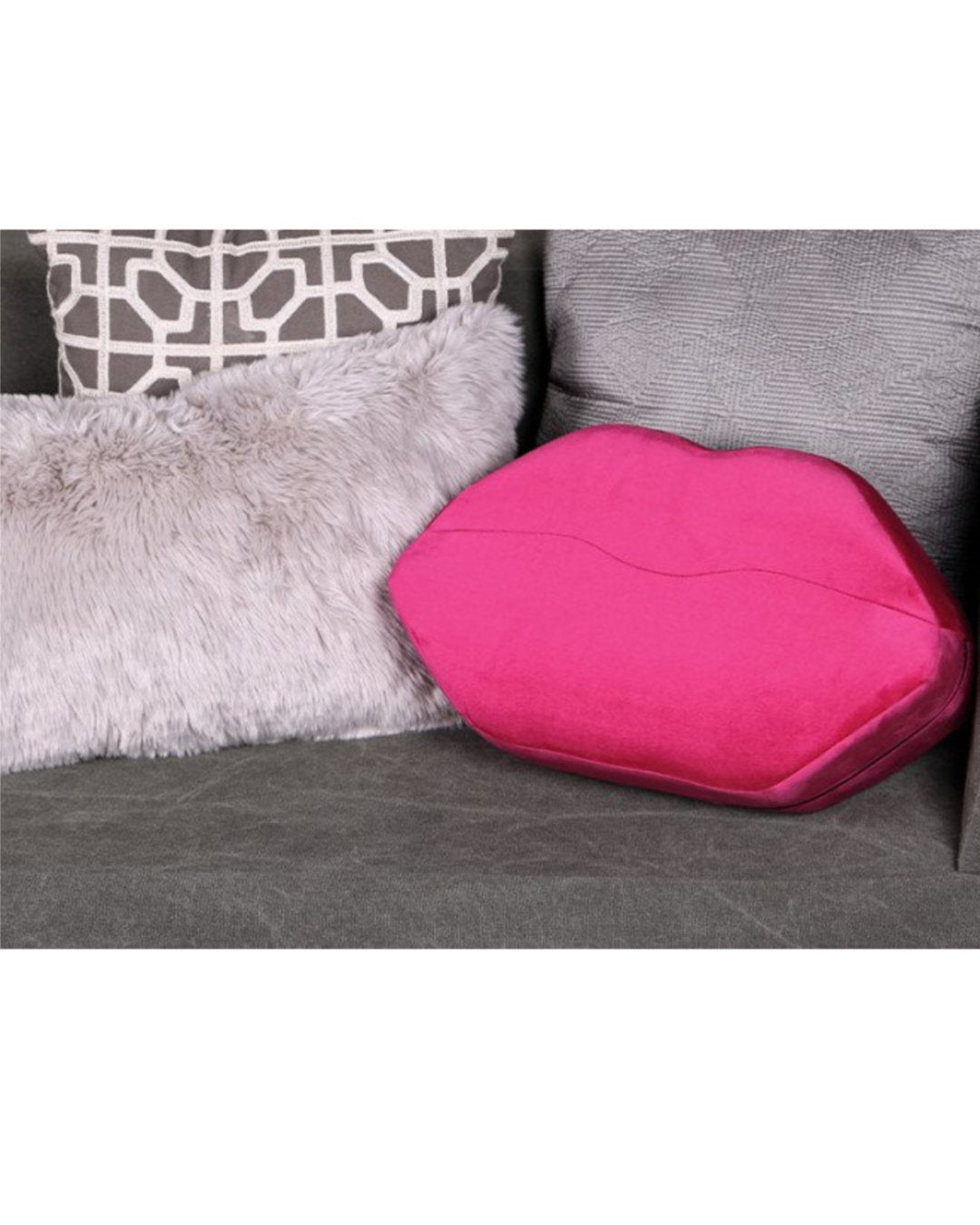 Liberator Kiss Sex Positioning Wedge Pink Pillow on Couch