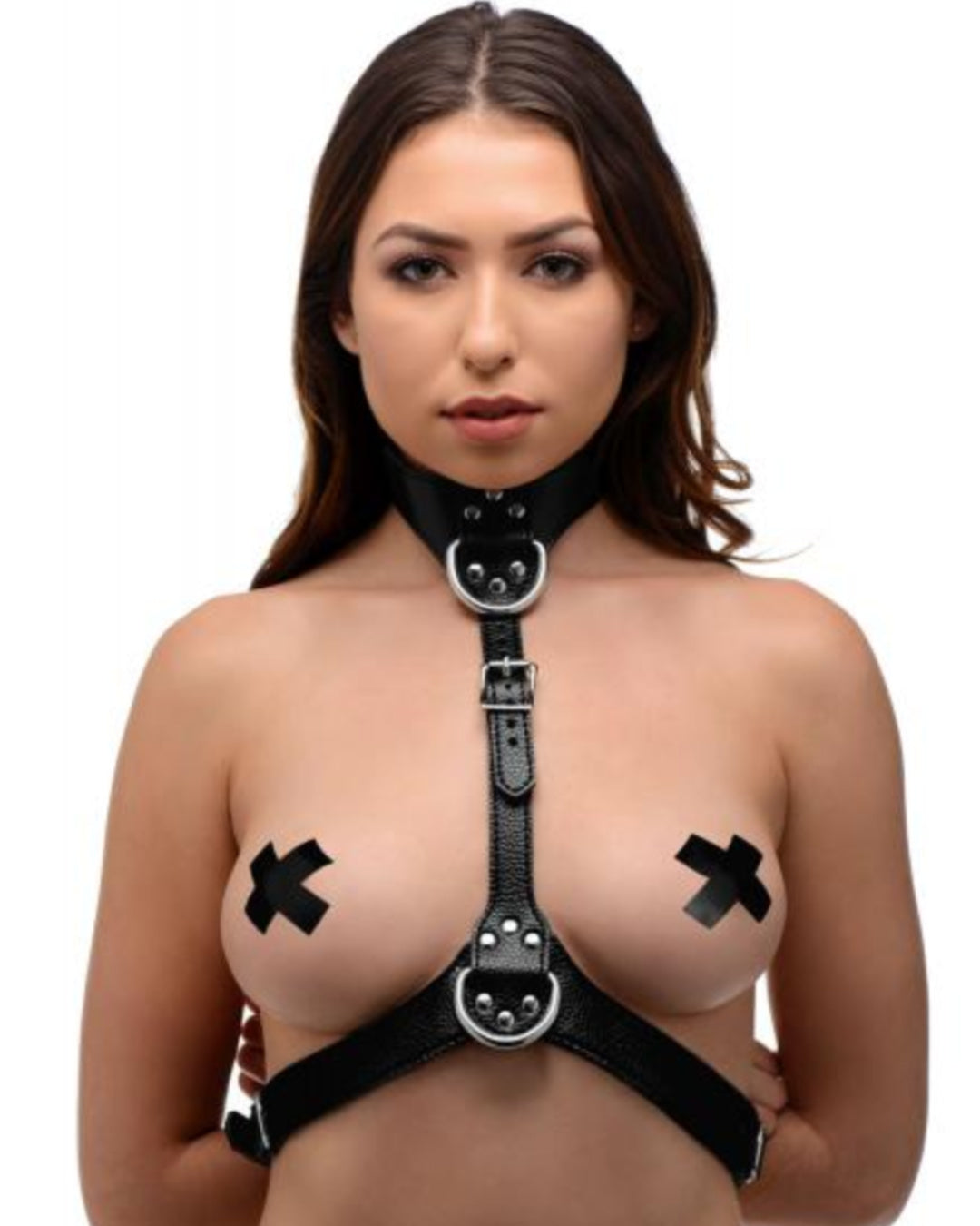 Female Leather Chest Harness - Black Front View Worn by Model