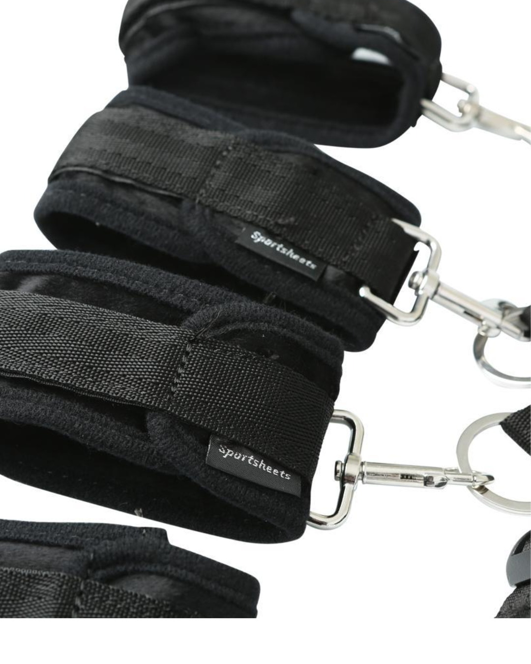 Sportsheets Under the Bed Restraint System showing close up of cuffs