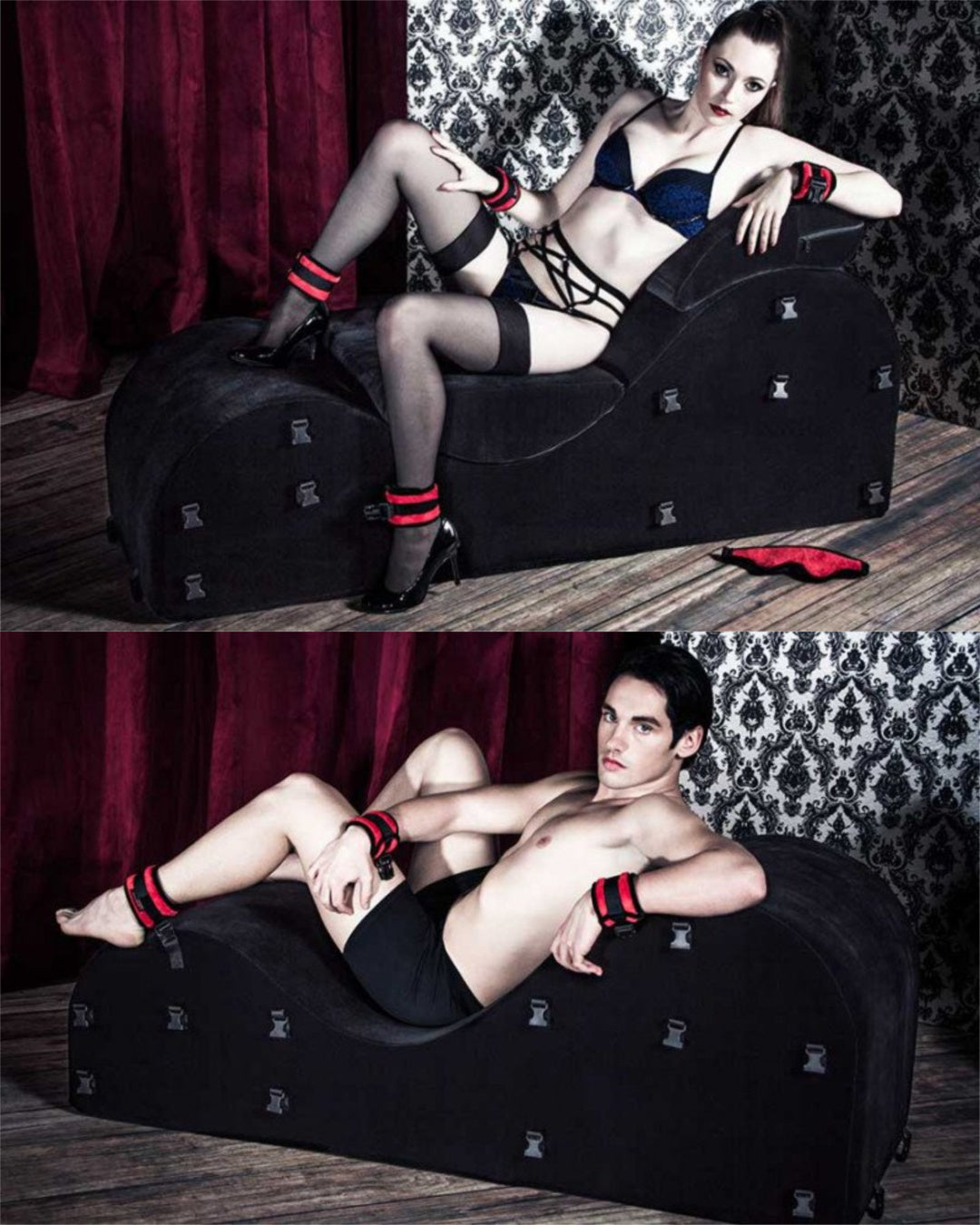 Separate images of a woman and a man lounging on the Liberator Black Label Esse Bondage Sex Furniture with Restraints