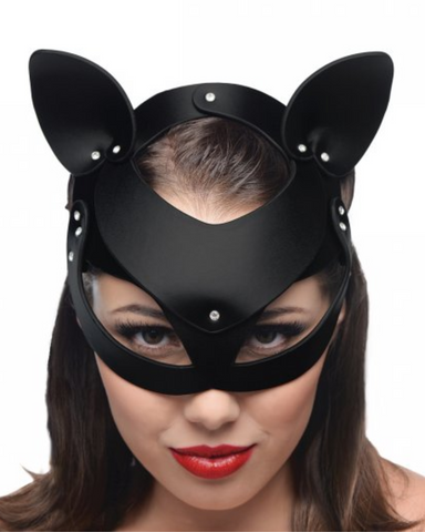 model wearing Bad Kitten Leather Cat Mask