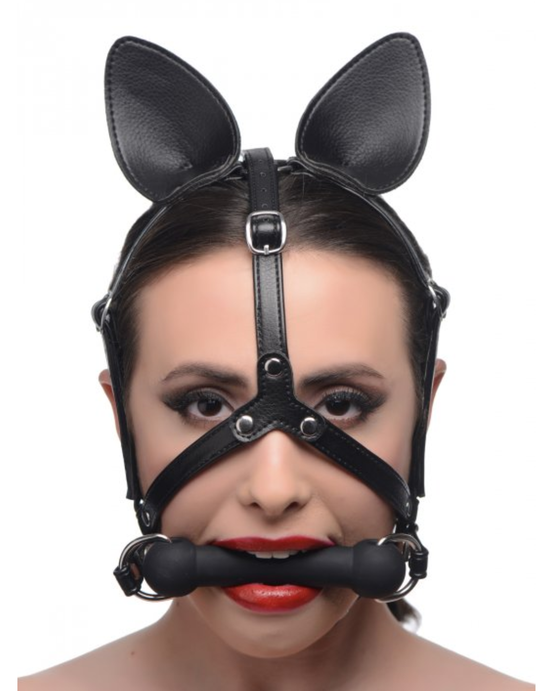 Dark Horse Pony Head Harness With Silicone Bit - Black WORN BY A FEMALE MODEL