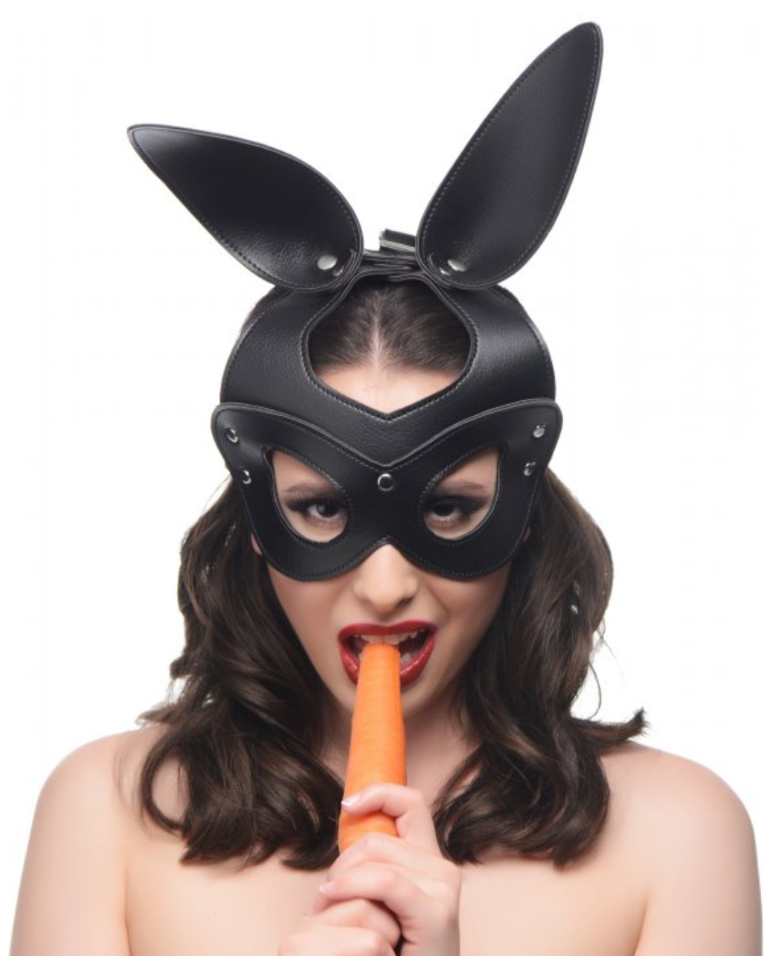 Bad Bunny Vegan Leather Bunny Mask worn by a model eating a carrot