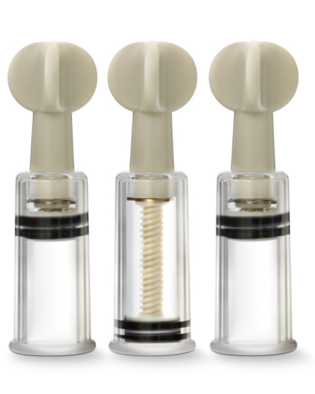 Temptasia Clit & Nipple Twist Suckers Set Of 3 Clear by Blush