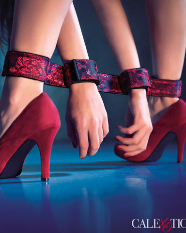 Scandal Flexible Bondage Bar shown on a female model wearing red high heels