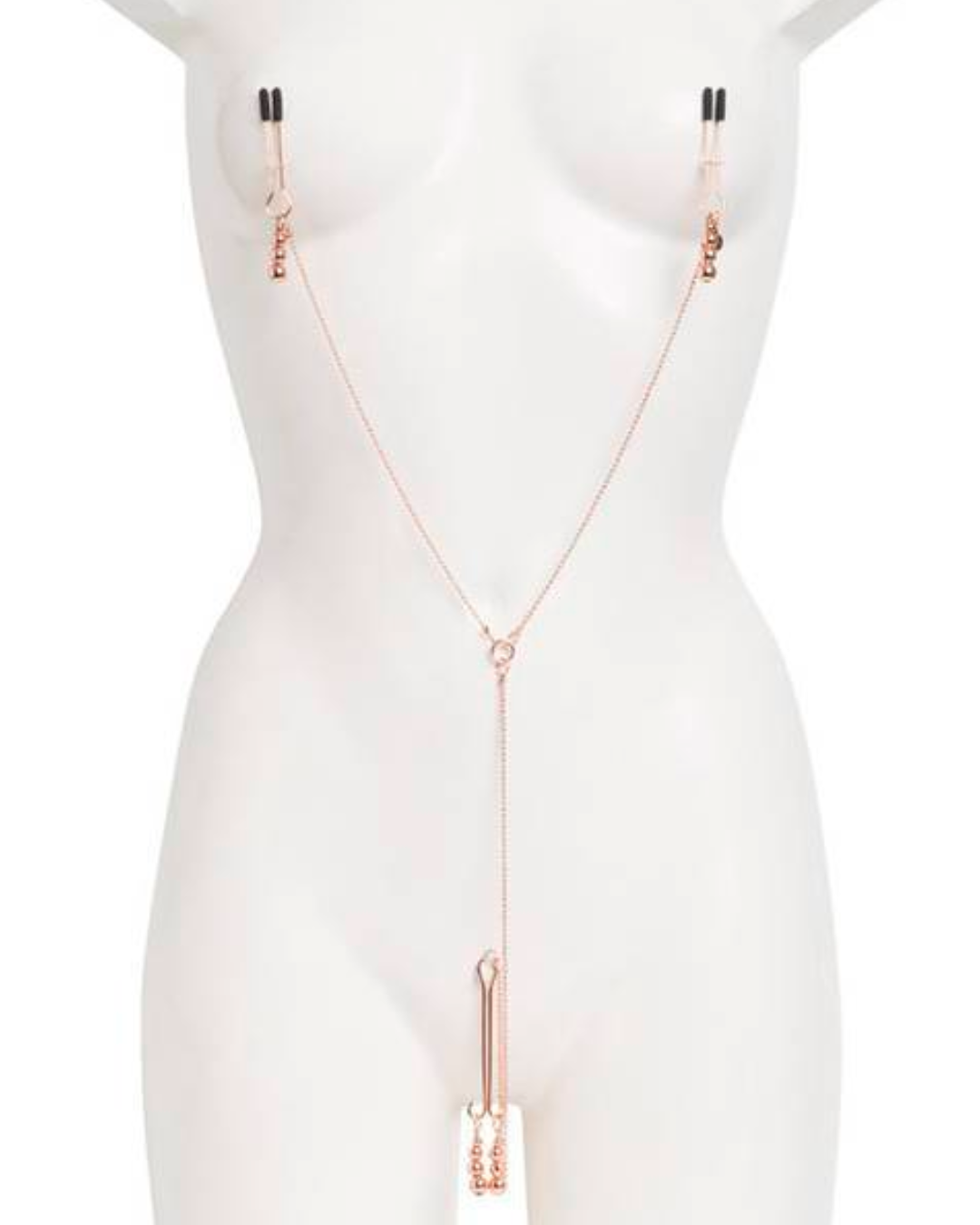 Fifty Shades Freed All Sensation Nipple & Clitoral Chain on a mannequin