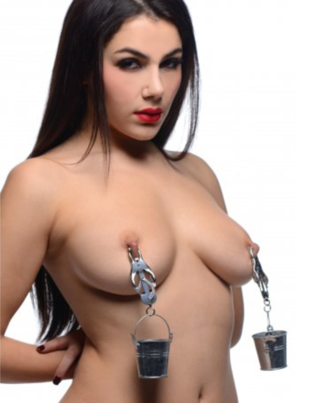 Jugs Nipple Clamps With Stainless Steel Buckets  ON A DARK HAIRED FEMALE MODEL