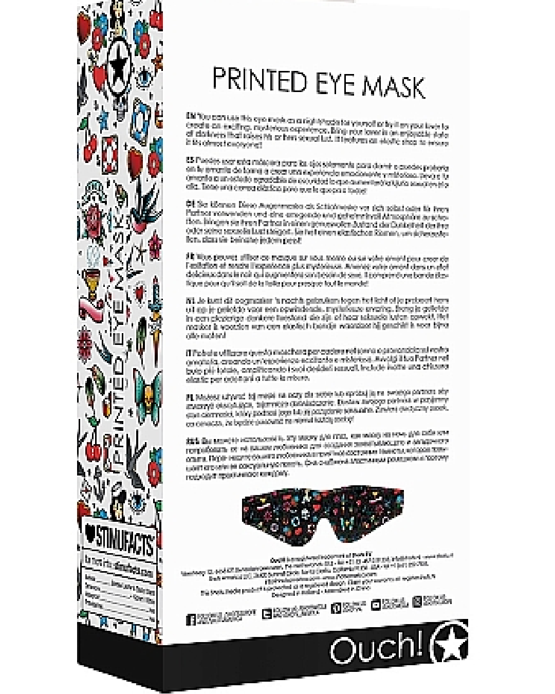 Ouch! Old School Tattoo Style Printed Eye Mask  back of box