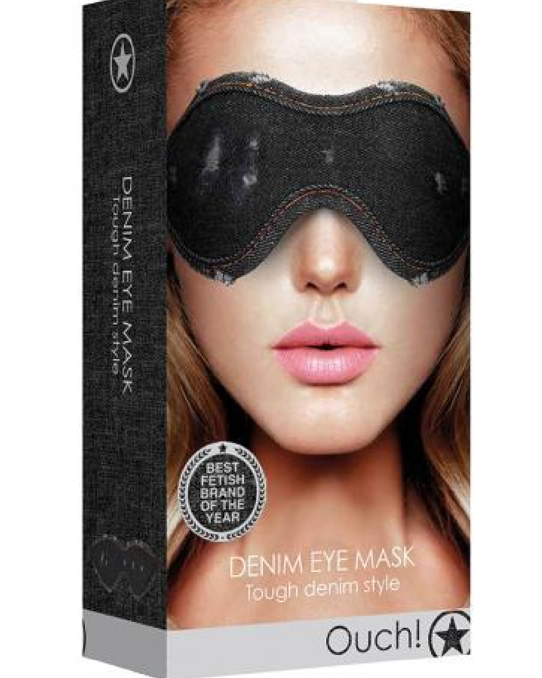 Ouch!  Denim Eye Mask - Black  product box