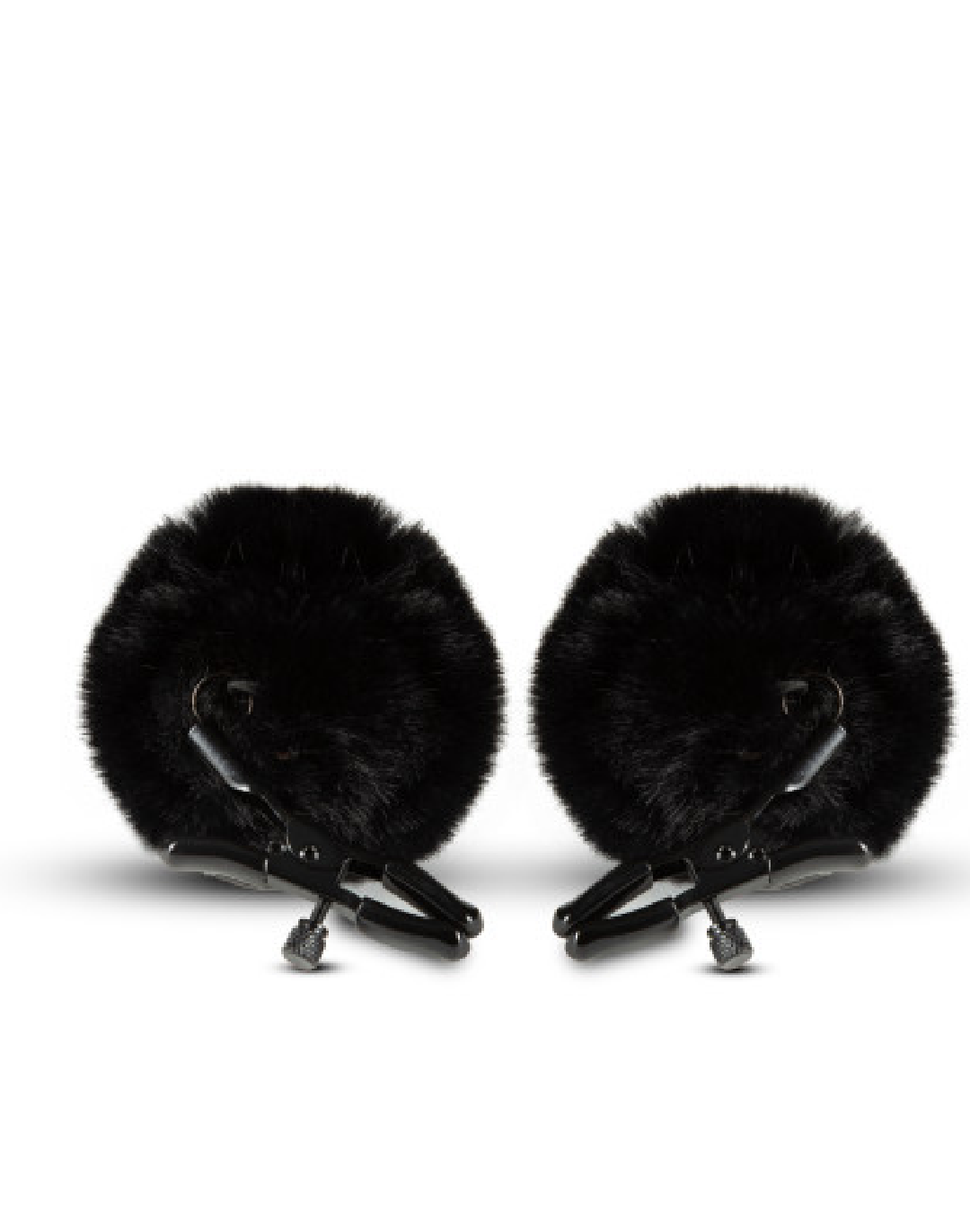 Noir Pom Nipple Clamps by Blush Novelties on white background