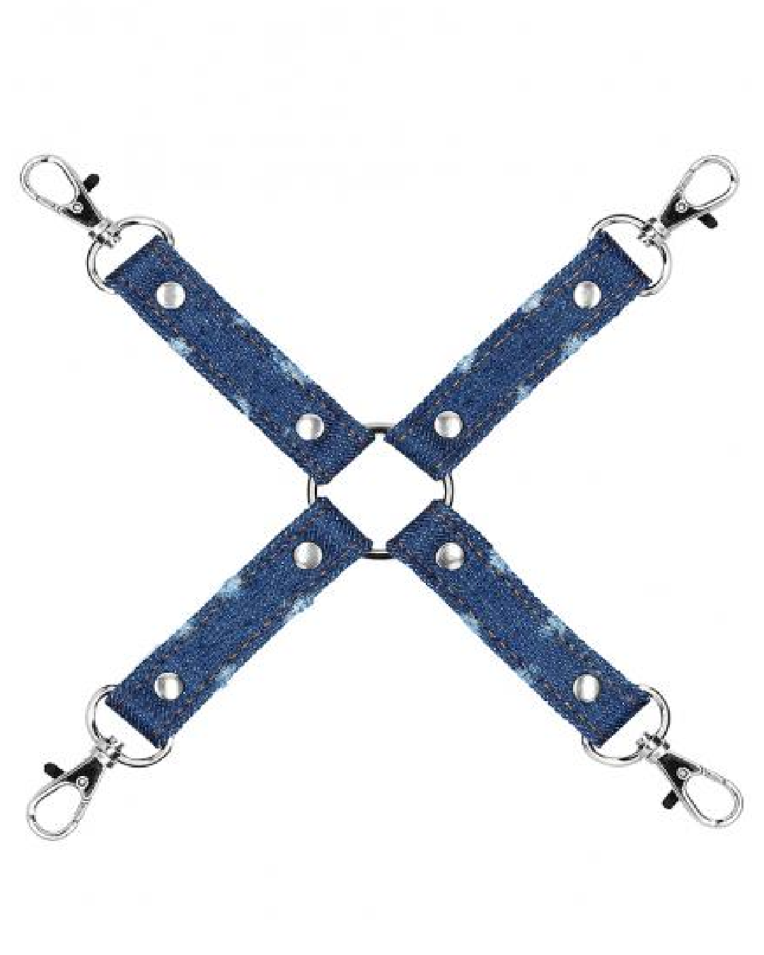 Ouch!  Roughend Denim Style Hogtie  - Blue product close up on white background