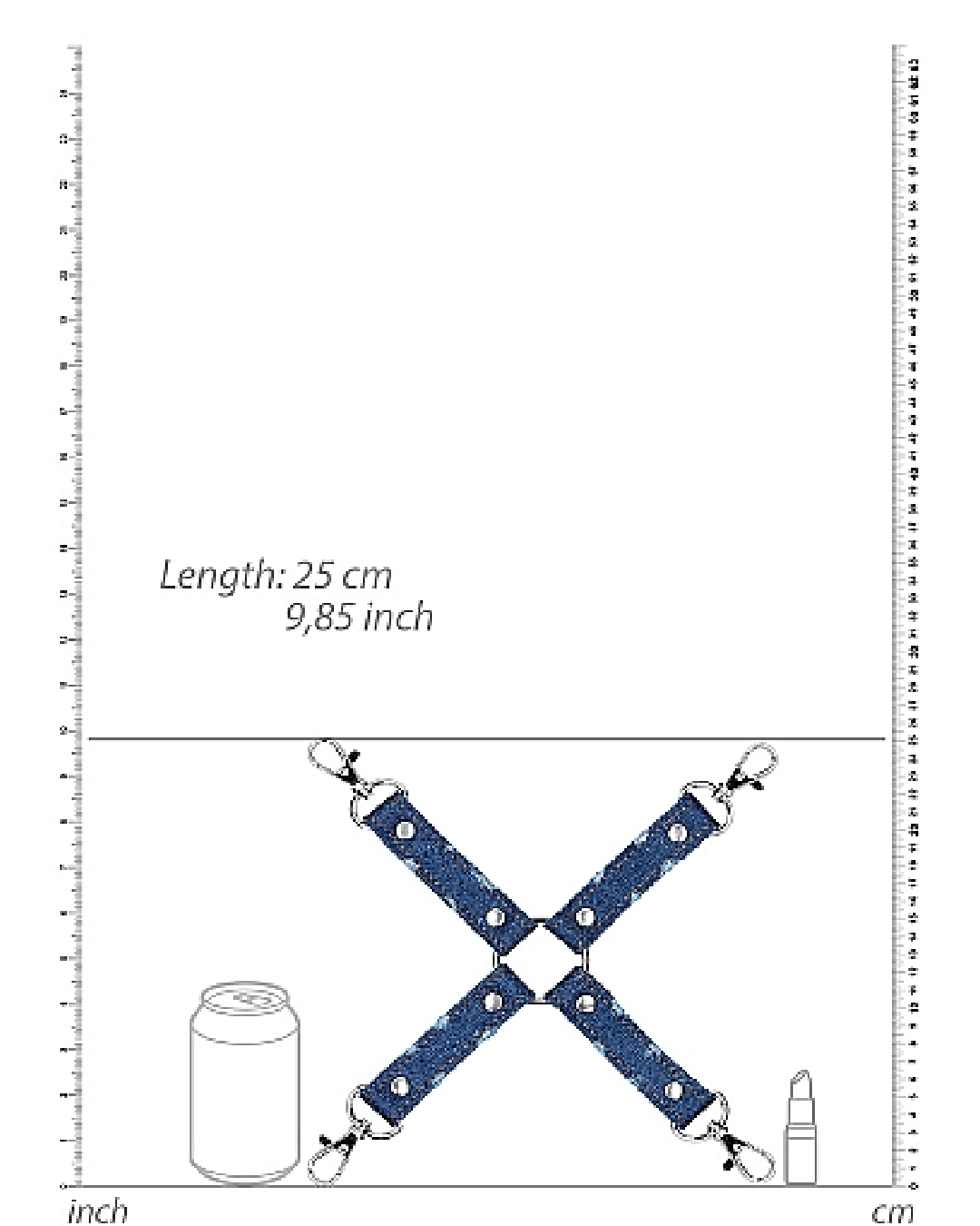 Ouch!  Roughend Denim Style Hogtie  - Blue graphic showing dimensions of product