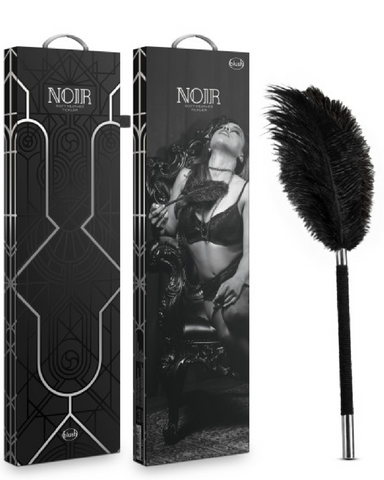 Noir Soft Feather Tickler by Blush Novelties box and product on white background