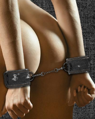 Ouch!  Roughend Denim Style Handcuffs  - Black model wearing cuffs