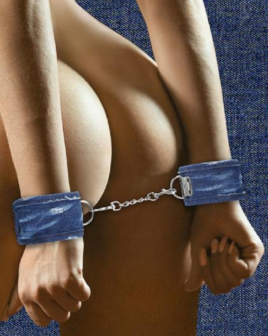 Ouch!  Roughend Denim Style Handcuffs  - Blue model waring cuffs