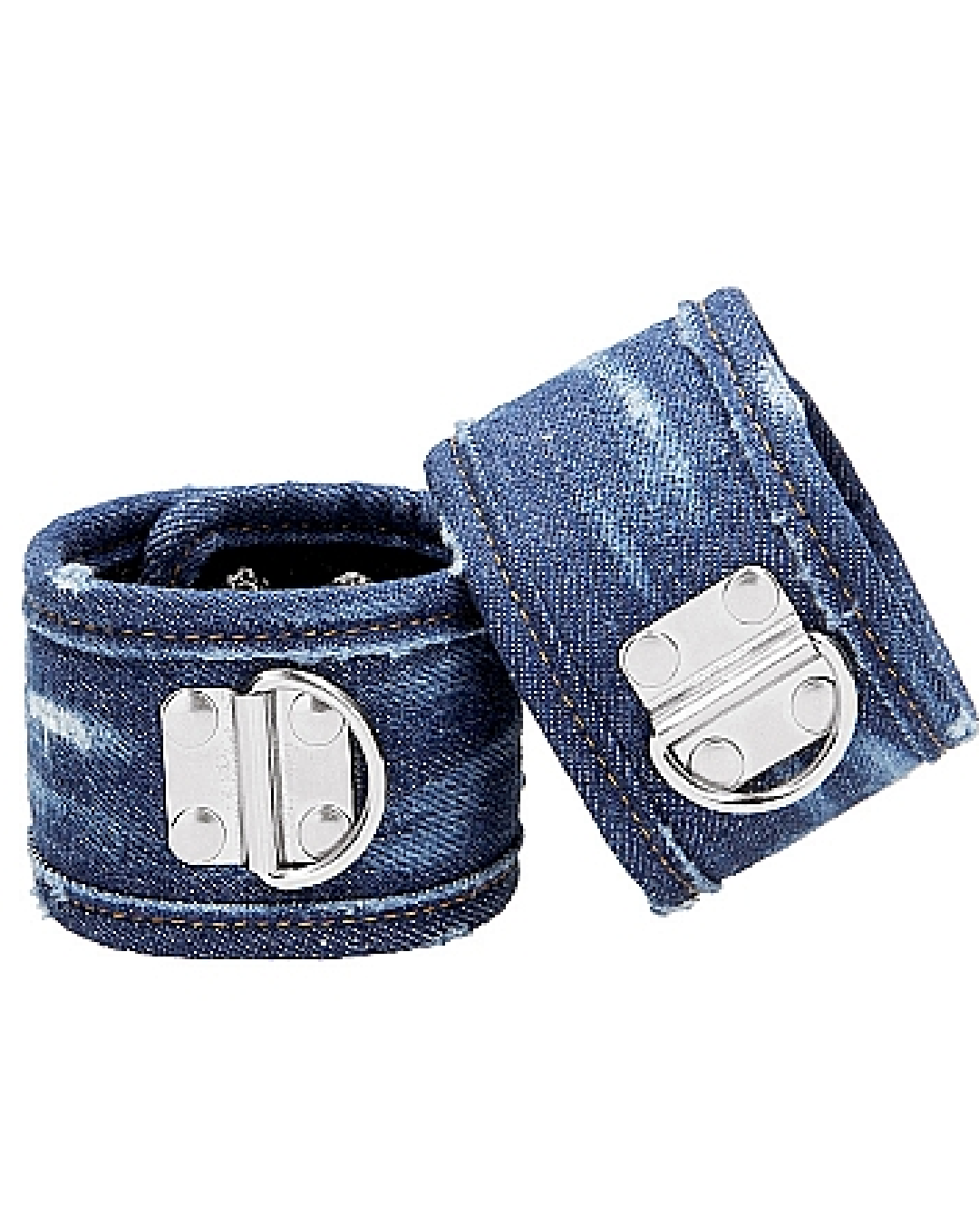 Ouch!  Roughend Denim Style Ankle Cuffs  - Blue