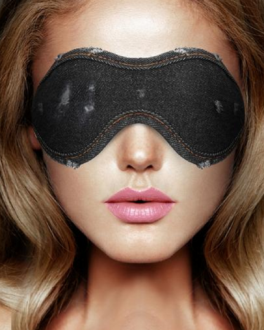 Ouch!  Denim Eye Mask - Black  model wearing it