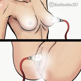 Temptasia Beginner's Breast and Clitoral Pumping System by Blush Novelties in use