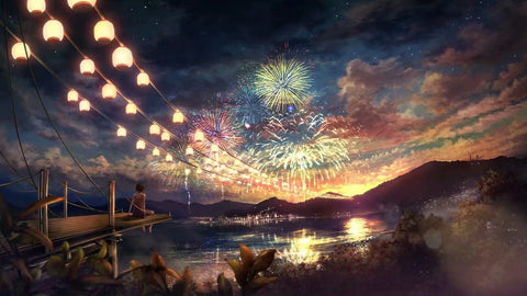 Anime Landscape Fireworks Night 1000 Pieces Jigsaw Puzzles