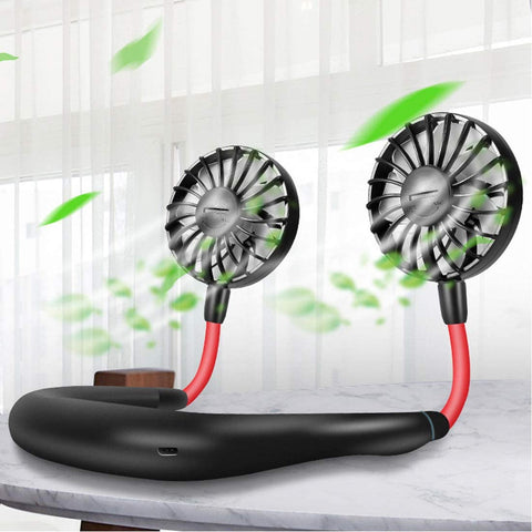 3 Speeds Hands Free Lazy Cooling Wearable Rechargeable Portable Hanging Neck Neckband Fan