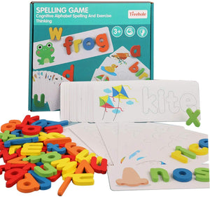 See Word Spelling Practice Alphabet Letters Learning Toys with Colorful Wooden Geometric Shape Puzzle