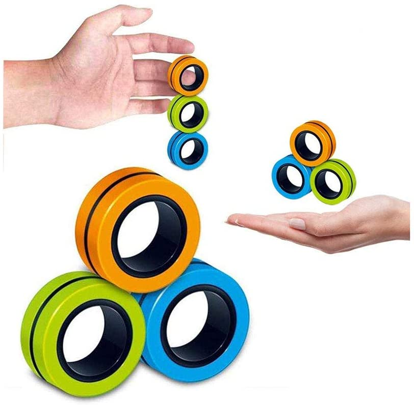 Fingears Magnetic Rings Fidget Toy - Hand Spinners Fidget Toy, Durable Unzip Toys,Magnet Toy, Magnetic Fingertip Toys, Decompression Magnetic Magic Ring