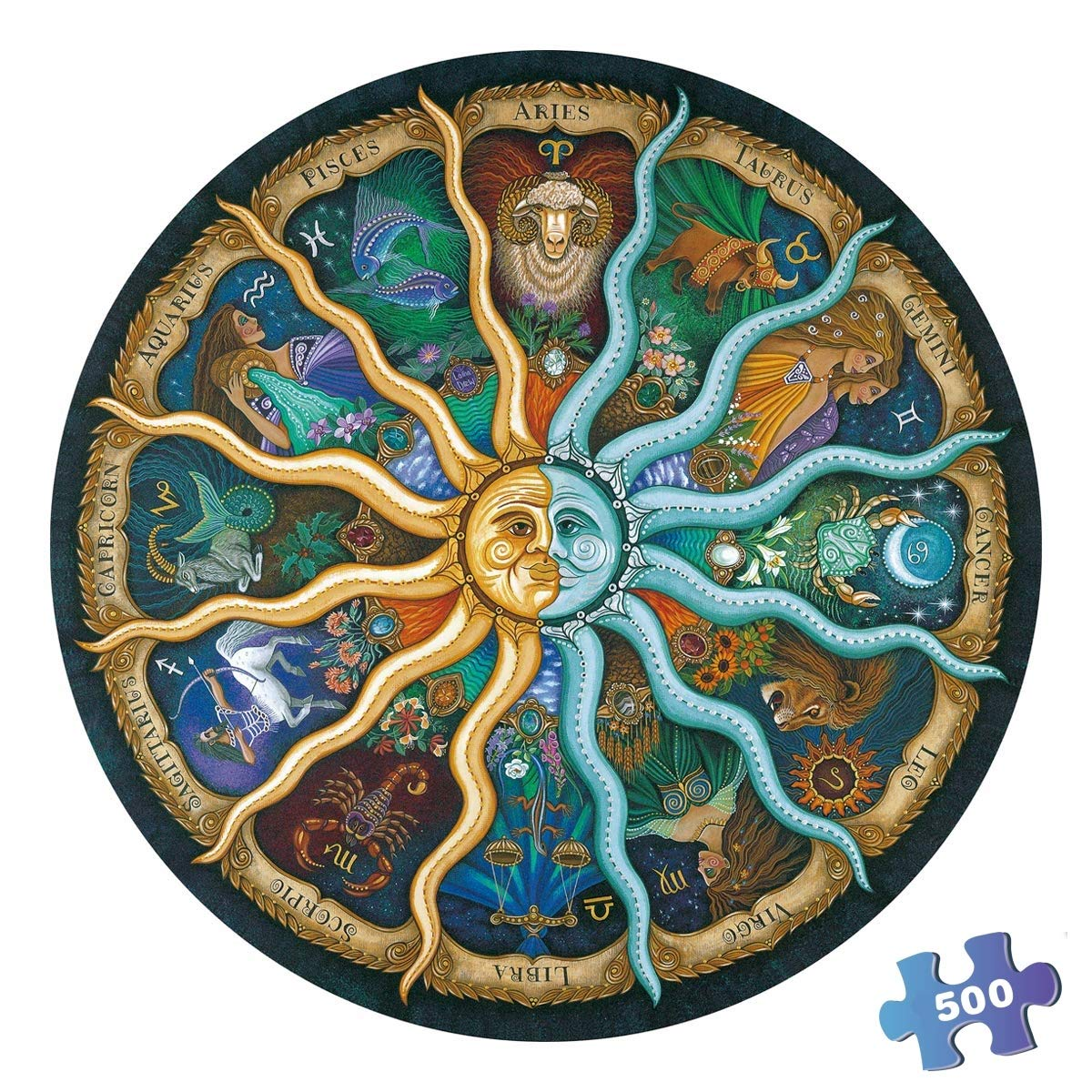 Round Jigsaw Puzzle 500 Piece for Adults- Zodiac Horoscope Puzzle- DIY Constellation Circular Jigsaw Puzzles Cool and Challenge