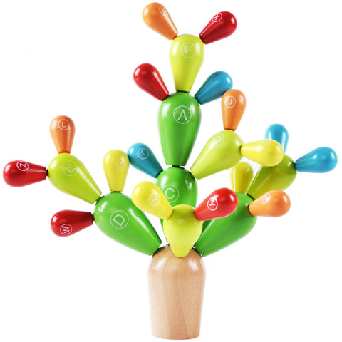 Wooden Balancing Cactus Toy for Kids and Toddlers